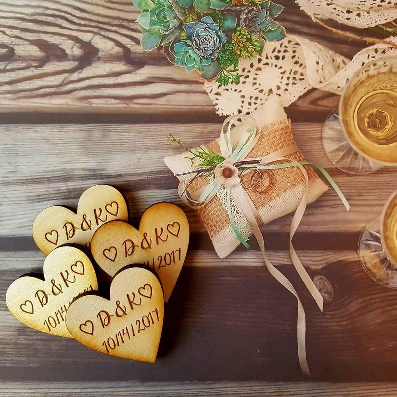 Groom Wedding Favor Wedding Favours Wedding Magnets Bride Qty 50 Heart Magnets