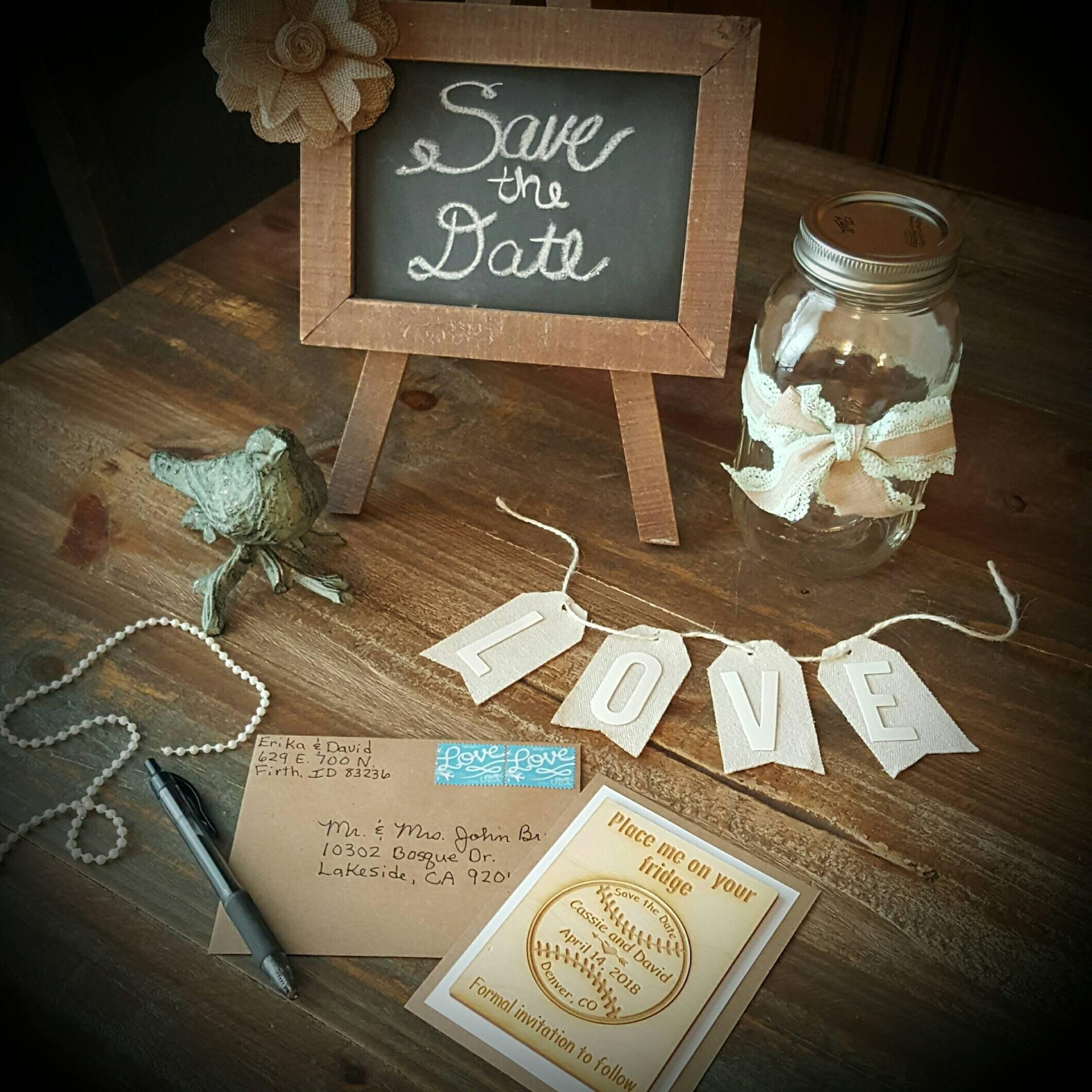 save the date wedding magnets with frame and envelopes baseball