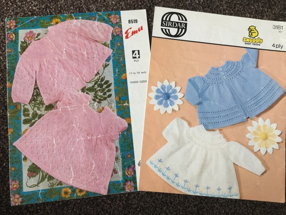 Two Baby Knitting Patterns Sirdar Pattern Emu Pattern 4 Etsy