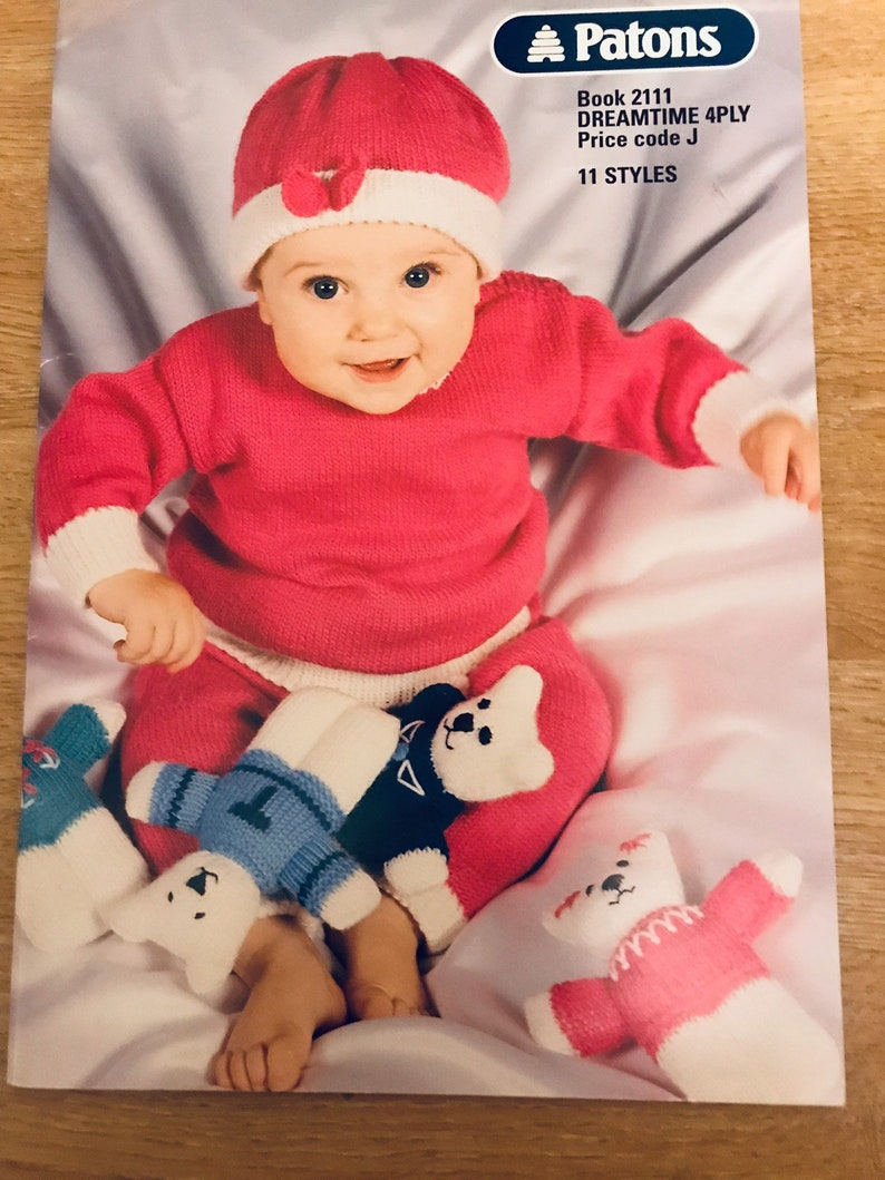 Baby Knitting Patterns Booklet Patons 4 Ply Original Etsy