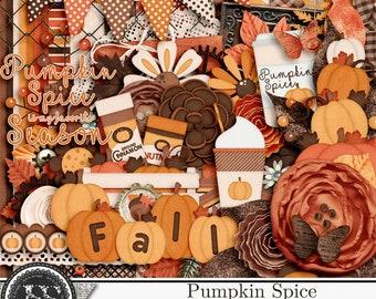 Pumpkin Spice Fall Autumn  Digital Scrapbook Kit