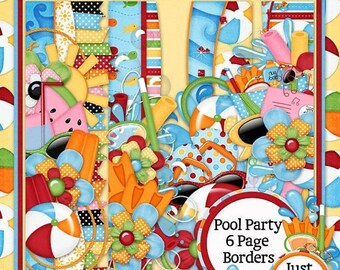 On Sale 50% Pool Party Digital Scrapbook Kit Page Borders - Digital Scrapbooking