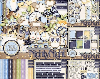 On Sale 50% Nighty Night Digital Scrapbook Collection - Digital Scrapbooking