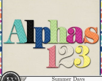 On Sale 50% Summer Days, Beach, Swim, Alphabets for Digital Scrapbooking