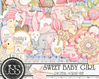 Sweet Baby Girl Digital Scrapbook Kit for Digital Scrapbooking and Paper Crafting