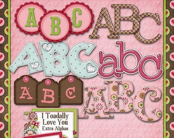 On Sale 50% I Toadally Love You Digital Scrapbook Kit Extra Alphas - Digital Scrapbooking