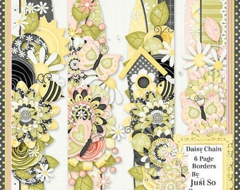 On Sale 50% Daisy Chain Digital Scrapbook Kit Page Borders - Digital Scrapbooking