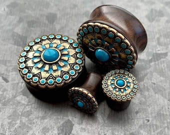 Details about  /Ear Piercing Organic Wood Plug With Tribal Sun