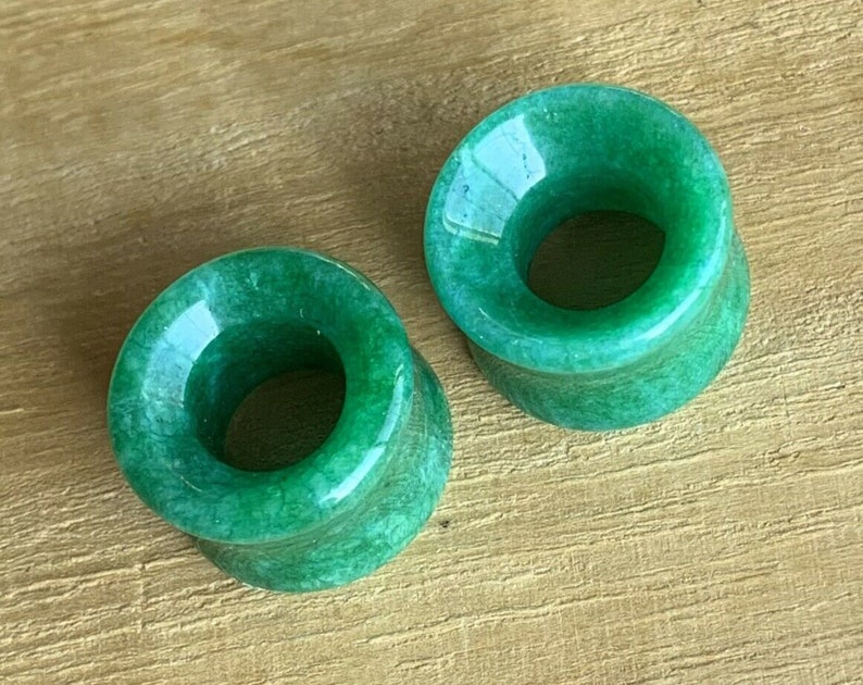 16mm available! 6mm PAIR of Stunning Real Jade Organic Stone Tunnels- Gauges 2g to 58