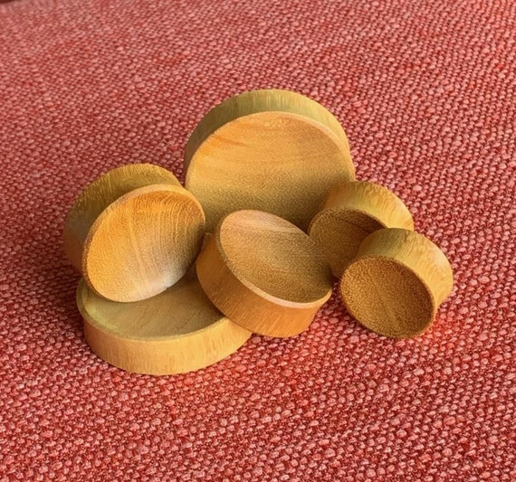 select size from 8g all the way up to 30mm PAIR Concave Jackfruit Wood Plugs