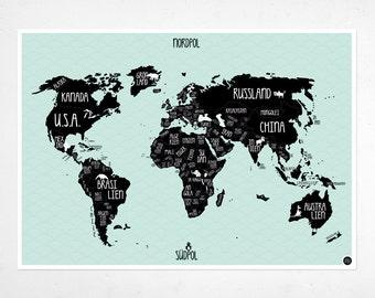 """A1 Poster """"World map"""" mint green"""