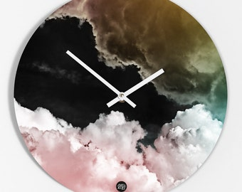 "Wall clock ""Pink clouds"""