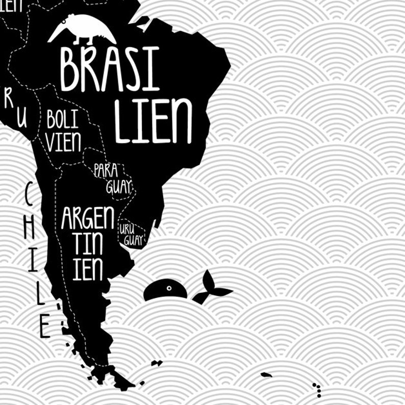 A1 Poster World map black /& white