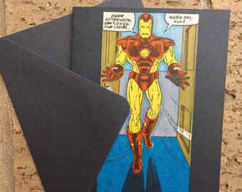 "Vintage Marvel Iron Man ""Warm Day , huh?"" Greeting Card (Blank)"