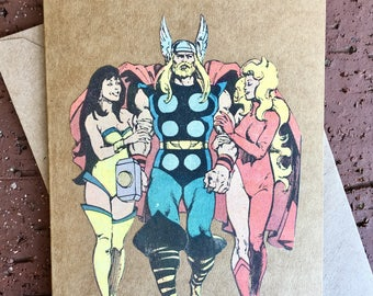 Marvel Avengers - Mighty Thor Ladies Man Comic Book Greeting Card (Blank)