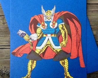 Vintage Mighty Thor Comic Book Greeting Card (Blank)