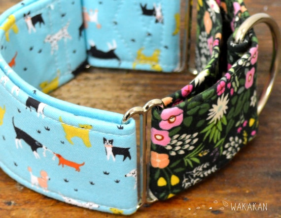 Martingale dog collar model Doggie Walk. Adjustable and handmade with 100% cotton fabric. Flowers, Wakakan