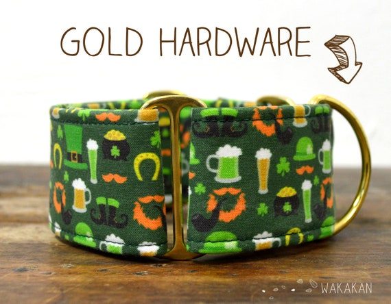 Martingale dog collar model Irish. Adjustable and handmade with 100% cotton fabric. Saint Patricks Day. Wakakan