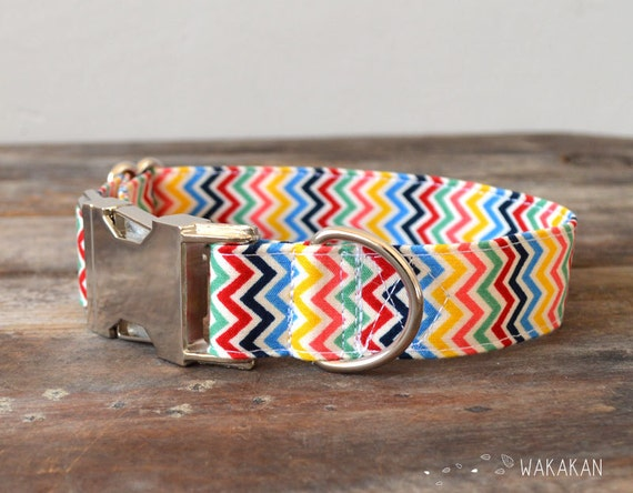 Adjustable dog collar Crazy Chevron for dog. Colorful beautiful 100% cotton fabric. Handmade by Wakakan