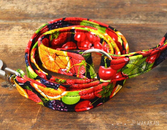 Leash for dog model Tutti Frutti. Handmade with 100% cotton fabric and webbing. fruits. Wakakan