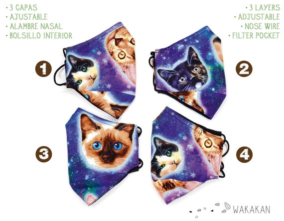 Galaxy Cat face mask handmade. 3 layers, outer cotton fabric, 2 inner layers of certified microfiber fabric. Pocket, Washable. Wakakan