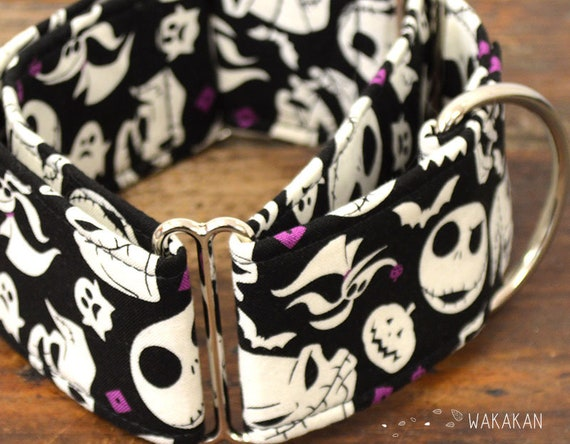 Martingale dog collar model Spooky Town. Adjustable and handmade with 100% cotton fabric. Halloween. Wakakan