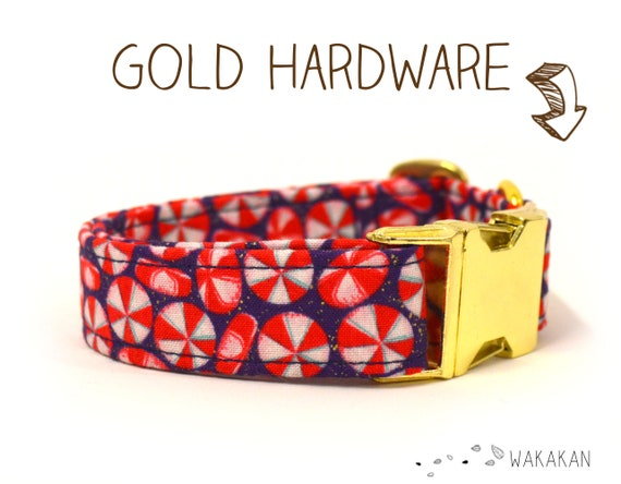 Xmas Candy dog collar. Adjustable and handmade with 100% cotton fabric. Winter candies glitter super sweet. Wakakan