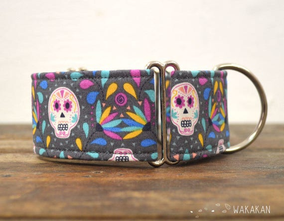 Martingale Dia de los Muertos dog collar adjustable. Handmade with 100% cotton fabric. Mexican style. colorful design. Greyhound Wakakan