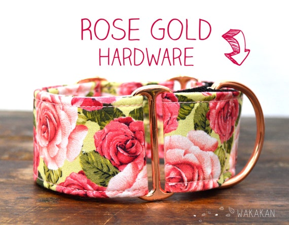 Martingale dog collar model Rose Bouquet Green. Adjustable and handmade with 100% cotton fabric. Flowers, Spring Wakakan