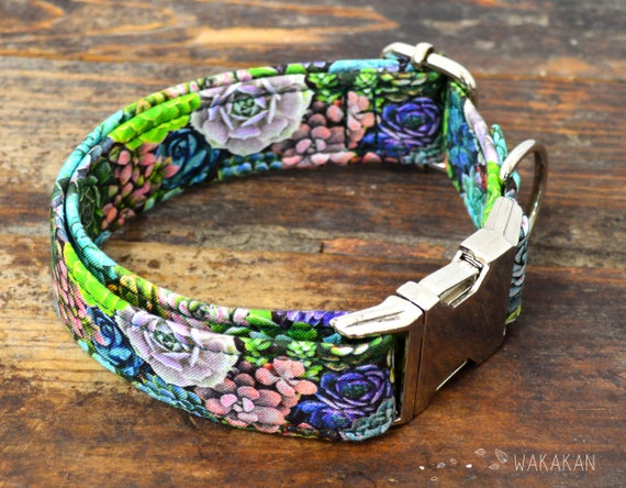 Succulents dog collar. Adjustable and handmade with 100% cotton fabric. cactus plant Wakakan