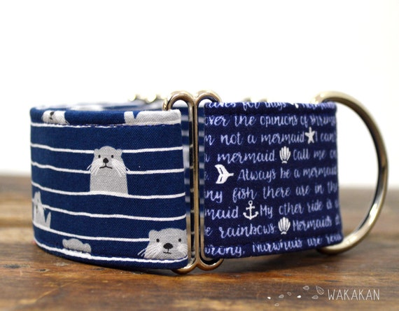Martingale dog collar model Set Sail. Adjustable and handmade with 100% cotton fabric. Sea, mermaid Wakakan