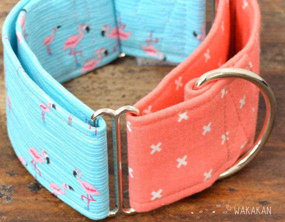 Martingale dog collar model Florida. Adjustable and handmade with 100% cotton fabric. Flamingo summer design Wakakan