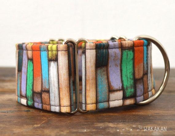 Martingale dog collar model Rustic Wood. Adjustable and handmade with 100% cotton fabric. DIY, paint. Wakakan