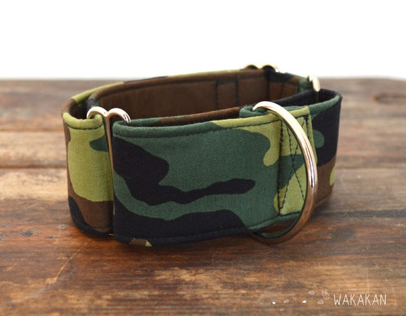 Martingale dog collar model G.I. Dog. Adjustable and handmade with 100% cotton fabric. Militar army style. Camo Wakakan