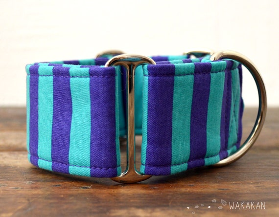 Martingale dog collar model Circus. Adjustable and handmade with 100% cotton fabric. Purple and turquoise stripes, halloween. Wakakan