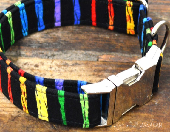 Stripes collar adjustable. Handmade with 100% cotton fabric. Colorful, rainbow pattern Wakakan