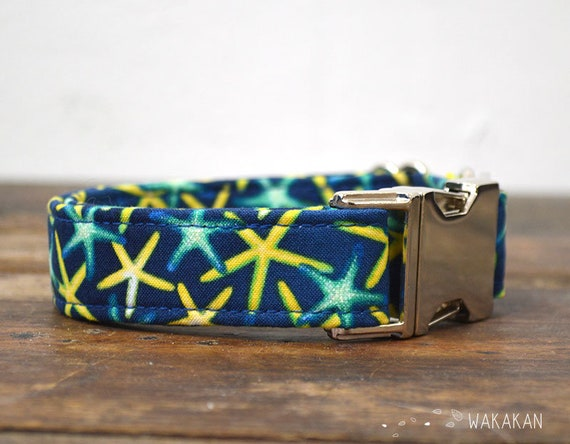 Starfish dog collar. Adjustable and handmade with 100% cotton fabric. Summer style Wakakan