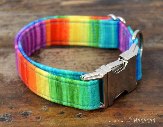 Paint  dog collar adjustable. Handmade with 100% cotton fabric. Rainbow colors. Wakakan