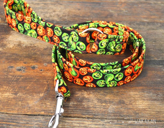 Leash for dog Jalapeno. Handmade with 100% cotton fabric and webbing. Two width available. Wakakan