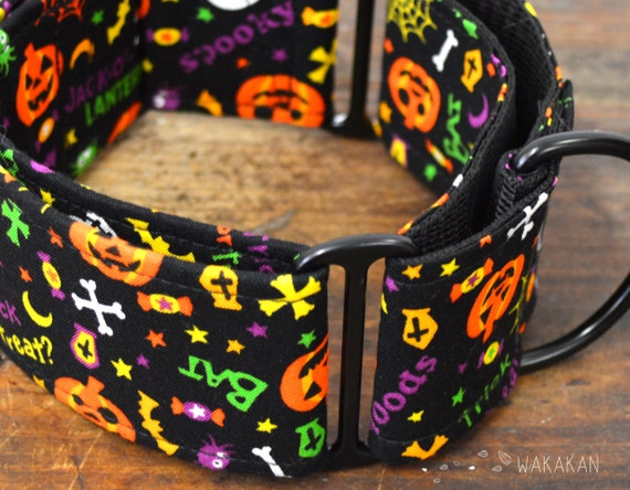 Martingale dog collar model Spooky Party. Adjustable and handmade with 100% cotton fabric. Halloween, season, pumpkin Wakakan