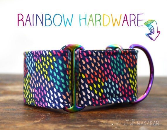 Martingale dog collar Rainy Day. Adjustable and handmade with 100% cotton fabric. Colorful rain, rainbow. Wakakan