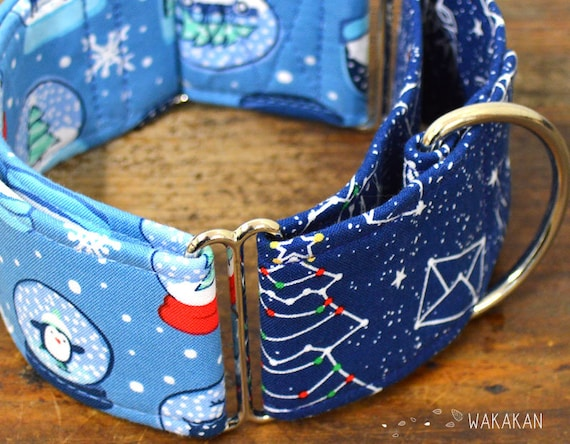 Martingale dog collar model Snow Globe. Adjustable and handmade with 100% cotton fabric. winter Wakakan