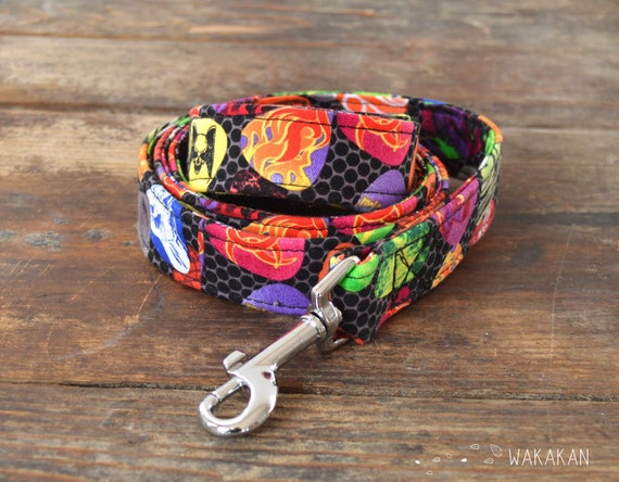 Leash for dog model Rock 'n' Roll. Handmade with 100% cotton fabric and webbing. Two width available. Wakakan