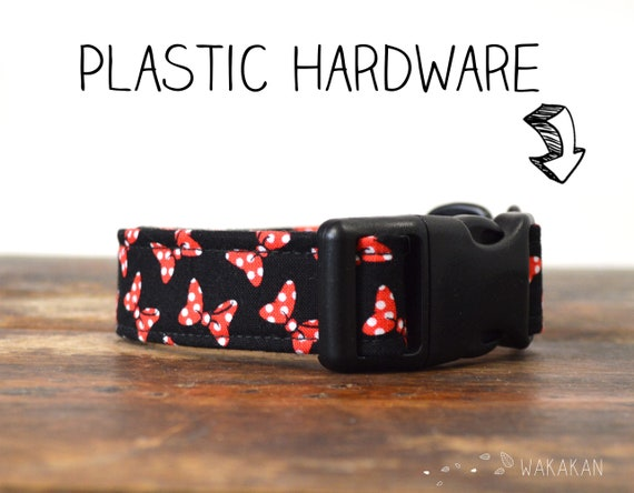 Minnie Ribbons collar adjustable. Handmade with 100% cotton fabric. Minnie mouse laces, polka dots. Wakakan