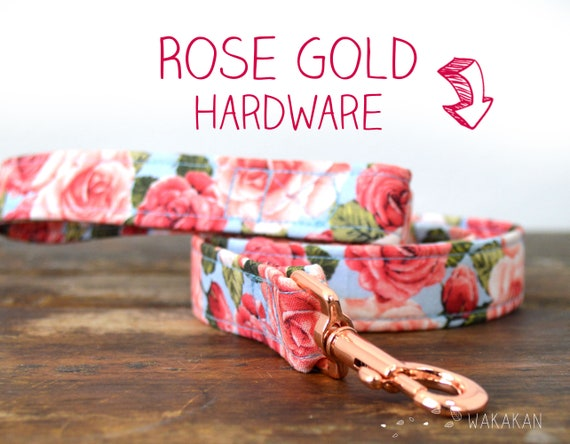 Leash for dog Rose Bouquet. Handmade with 100% cotton fabric and webbing. Two width available. Wakakan