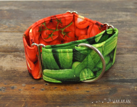 Martingale dog collar model Tomato Salad. Adjustable and handmade with 100% cotton fabric. tomato and cucumber Wakakan