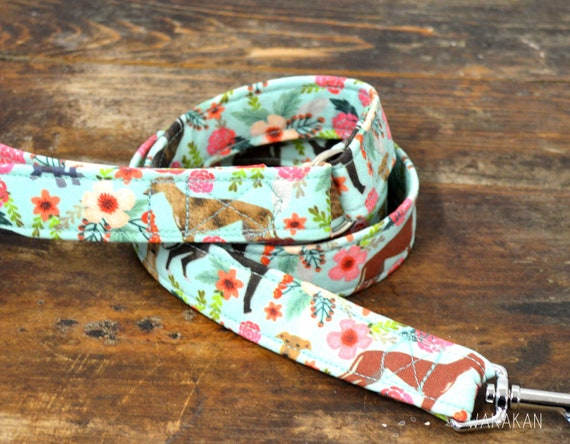 Leash for dog Greys at Home. Handmade with 100% cotton fabric and webbing. Two width available. Wakakan