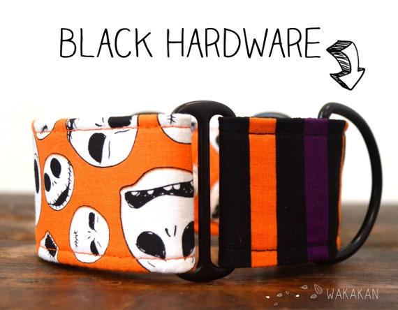 Martingale dog collar model This is Halloween Orange. Adjustable and handmade with 100% cotton fabric. Skull, nightmare. Wakakan