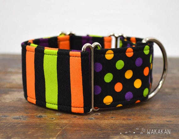 Martingale dog collar model Hocus Pocus. Adjustable and handmade with 100% cotton fabric. stripes and dots. Wakakan