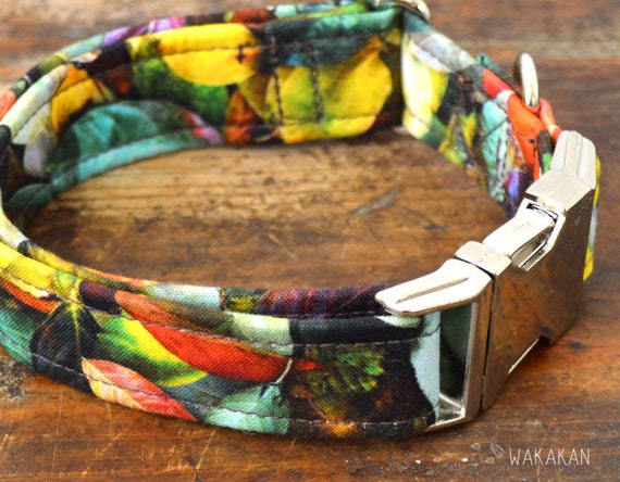 Autumn dog collar adjustable. Handmade with 100% cotton fabric. Leaves. Wakakan